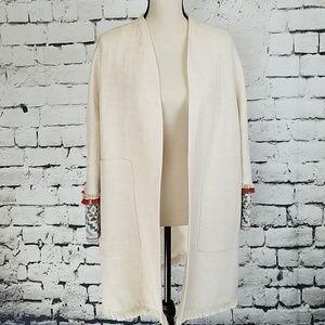 Zara open front linen blend jacket NWT